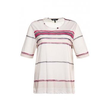 Ulla Popken Damen  T-Shirt, Streifen, Regular, Halbarm, graubeige, Gr. 58/60, Mode in großen Größen