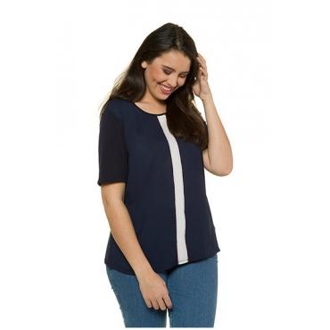 Ulla Popken Damen  T-Shirt, Streifeneinsatz, Classic, Rundhalsausschnitt, nachtblau, Gr. 42/44, Mode in großen Größen