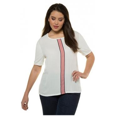 Ulla Popken Damen  T-Shirt, Streifeneinsatz, Classic, Rundhalsausschnitt, weiß, Gr. 58/60, Mode in großen Größen
