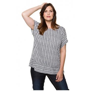 Ulla Popken Damen  T-Shirt, Streifenmix, Oversized, Nackenschlitz, marine, Gr. 58/60, Mode in großen Größen