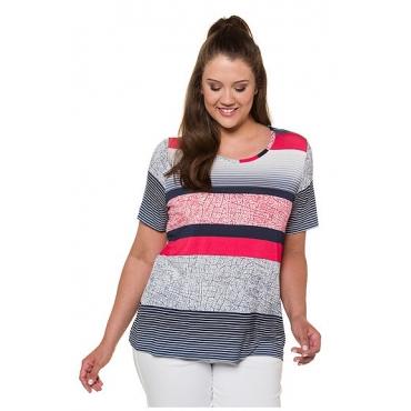 Ulla Popken Damen  T-Shirt, Streifenmuster, Oversized, Rundhalsausschnitt, mehrfarbig, Gr. 58/60, Mode in großen Größen