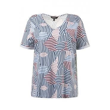 Große Größen Ulla Popken Damen  T-Shirt, Streifenmuster, V-Ausschnitt, Krempelriegel, Mehrfarbig, Gr. 42/44,46/48,50/52,54/56,58/60,62/64