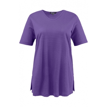 Ulla Popken Damen  T-Shirt, Strukturringel, Regular, Rundhalsausschnitt, violett, Gr. 58/60, Mode in großen Größen