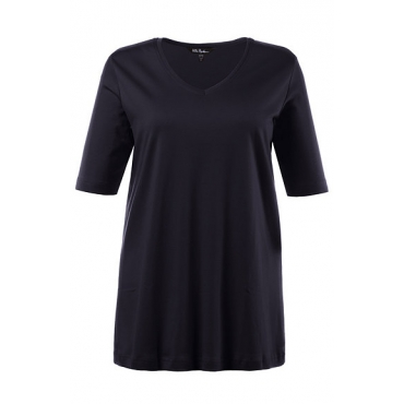 Große Größen Ulla Popken Damen  T-Shirt, V-Ausschnitt, Classic, Pima-Baumwolle, Blau, Gr. 42/44,46/48,50/52,54/56,58/60,62/64