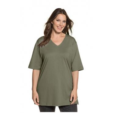 Ulla Popken Damen  Basic-T-Shirt, V-Ausschnitt, Relaxed, Baumwolle, hellgrün, Gr. 58/60, Mode in großen Größen