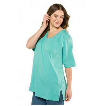 Ulla Popken Damen  Basic-T-Shirt, V-Ausschnitt, Relaxed, Baumwolle, kleegrün, Gr. 54/56, Mode in großen Größen