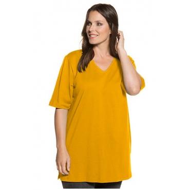 Ulla Popken Damen  Basic-T-Shirt, V-Ausschnitt, Relaxed, Baumwolle, senf, Gr. 54/56, Mode in großen Größen