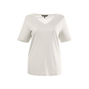 Große Größen Ulla Popken Damen  T-Shirt, V-Ausschnitt, Slim, Basic-Shirt, kürzere Form, Öko-Tex 100, muschelweiß, Gr. 42/44,46/48,50/52,54/56,58/60