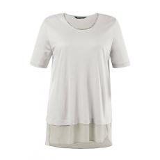 Große Größen Ulla Popken Damen  T-Shirt, verzierter Ausschnitt, Classic, Chiffonborte, hinten länger, muschelweiß, Gr. 42/44,46/48,50/52,54/56,58/60,62/64