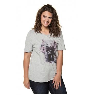Ulla Popken Damen  T-Shirt, Vintage-Trachtenmotiv, Classic, Glitzersteine, hellgrau-melange, Gr. 58/60, Mode in großen Größen