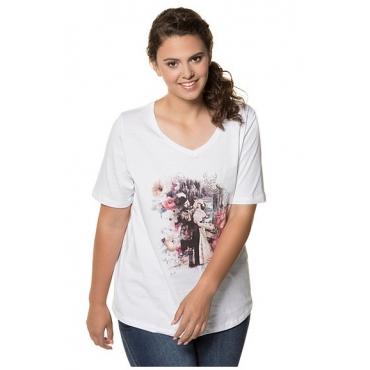 Ulla Popken Damen  T-Shirt, Vintage-Trachtenmotiv, Classic, Glitzersteine, weiß, Gr. 58/60, Mode in großen Größen