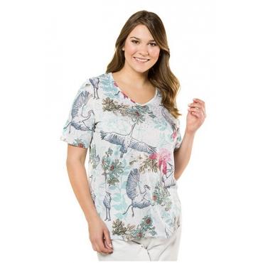 Ulla Popken Damen  T-Shirt, Vogel-/ Blütenmuster, Classic, Jersey, mehrfarbig, Gr. 58/60, Mode in großen Größen