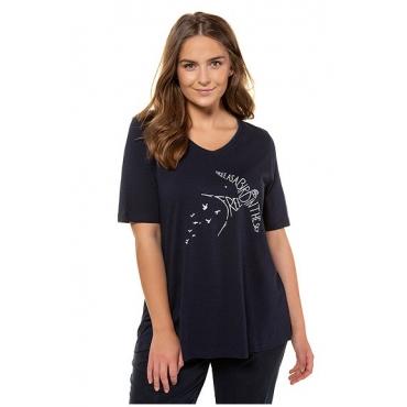 Ulla Popken Damen  T-Shirt, Vogelmotiv, A-Linie, Biobaumwolle, marine, Gr. 58/60, Mode in großen Größen