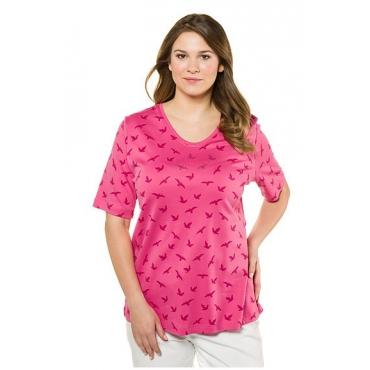 Große Größen Ulla Popken Damen  T-Shirt, Vogelmuster, Classic, Glitzersteine, Pima-Baumwolle, sattes pink, Gr. 42/44,46/48,50/52,54/56,58/60,62/64