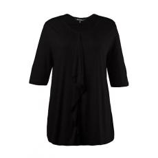Große Größen Ulla Popken Damen  T-Shirt, Volant, offenkantiger Ausschnitt, Elasthan, Schwarz, Gr. 42/44,46/48,50/52,54/56,58/60
