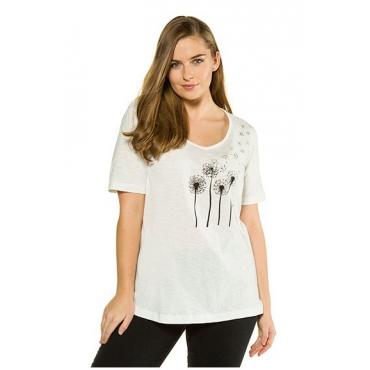 Ulla Popken Damen  T-Shirt, vorne Pusteblumen, hinten Schrift, offwhite, Gr. 58/60, Mode in großen Größen