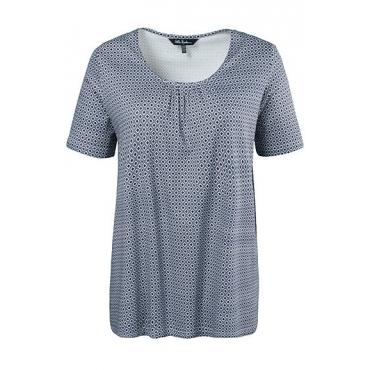 Ulla Popken Damen  T-Shirt, Wabenmuster, Raffung, A-Linie, marine, Gr. 58/60, Mode in großen Größen