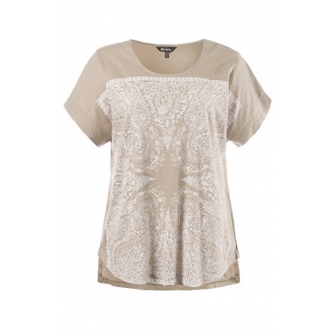 Große Größen Ulla Popken Damen  T-Shirt, XL-Tuchdruck, Oversized, Flammjersey, ingwer, Gr. 42/44,46/48,50/52,54/56,58/60,62/64