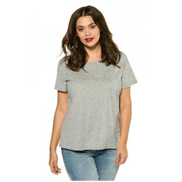 "Große Größen Ulla Popken Damen  T-Shirt, ""YES DEAR""-Stickerei, Rundhalsausschnitt, Grau, Gr. 42/44,50/52,46/48,54/56"