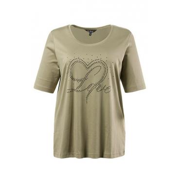 Große Größen Ulla Popken Damen  T-Shirt, Zierstein-Motiv, Classic, Pima-Baumwolle, Grün, Gr. 42/44,46/48,50/52,54/56,58/60,62/64