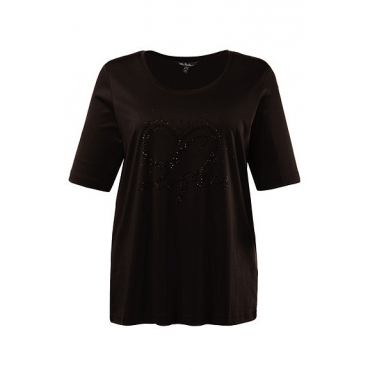 Große Größen Ulla Popken Damen  T-Shirt, Zierstein-Motiv, Classic, Pima-Baumwolle, Schwarz, Gr. 42/44,46/48,50/52,54/56,58/60,62/64