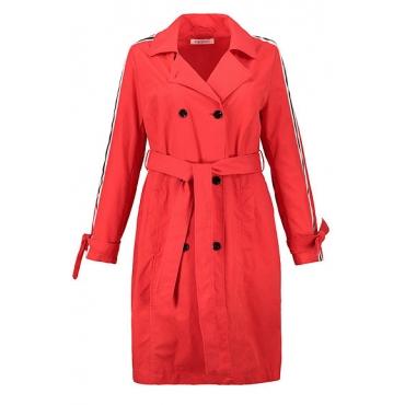 Studio Untold Damen  Trenchcoat, Mantel, Colorstreifen, Bindegürtel, Langarm, tiefrot, Gr. 54, Mode in großen Größen