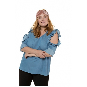 Große Größen Ulla Popken Damen  Tunika, Soft-Jeans, CutOut mit Rüschen, 3/4-Ärmel, Blau, Gr. 42,44,46,48,50,52,54