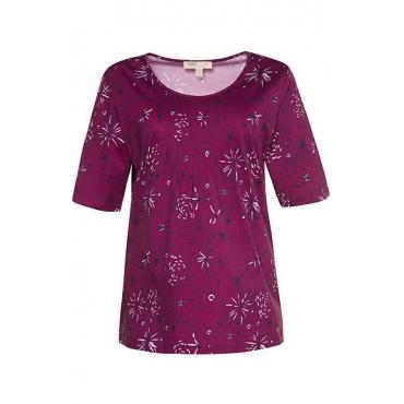 Ulla Popken Damen  T-Shirt, gemustert, Regular, Biesen, Biobaumwolle, himbeere, Gr. 58/60, Mode in großen Größen