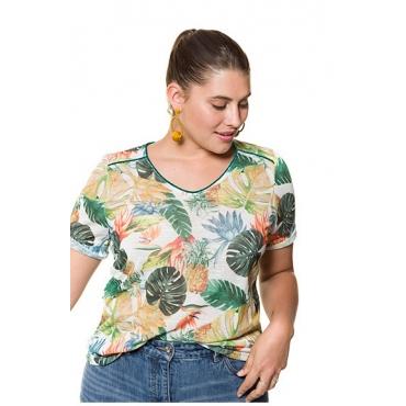 Studio Untold Damen  V-Shirt, Dschungelmuster, Flammjersey, Halbarm, mehrfarbig, Gr. 54/56, Mode in großen Größen