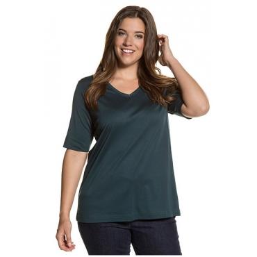 Ulla Popken Damen  V-Shirts, 2er-Pack, dunkelpetrol, offwhite, Gr. 58/60, Mode in großen Größen