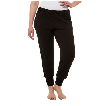 Ulla Popken Damen  Yoga-Hose, breiter Rippsaum, Rundum-Gummibund, schwarz, Gr. 58/60, Mode in großen Größen
