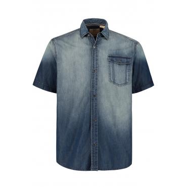 JP1880 Halbarm Jeans Hemd Herren, blue stone, Mode in großen Größen