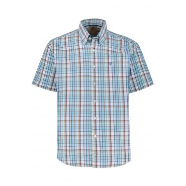 JP1880  Halbarmhemd Herren XXL, blau, Baumwolle, Mode in großen Größen