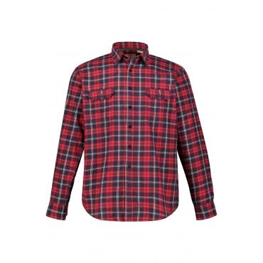 JP1880  Karohemd Herren XXL, rot, Baumwolle, Mode in großen Größen