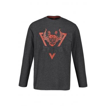 JP1880  Langarm-Shirt Herren XXL, anthrazit-melange, Baumwolle, Mode in großen Größen