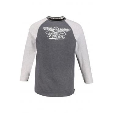 JP1880  Langarm-Shirt Herren XL, grau-melange, Baumwolle, Mode in großen Größen