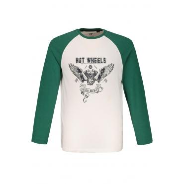 JP1880  Langarm-Shirt Herren XXL, weiß, Baumwolle, Mode in großen Größen