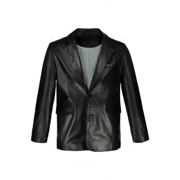 JP1880  Lederblazer Herren XXL, schwarz, Baumwolle, Mode in großen Größen