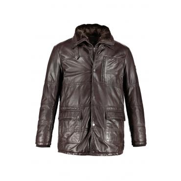 JP1880  Lederjacke Herren XXL, dunkelbraun, Leder, Mode in großen Größen