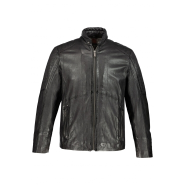JP1880  Lederjacke Herren XXL, schwarz, Leder, Mode in großen Größen