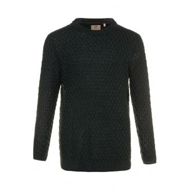 JP1880  Pullover Herren XXL, dunkelgrün-melange, Polyacryl, Mode in großen Größen