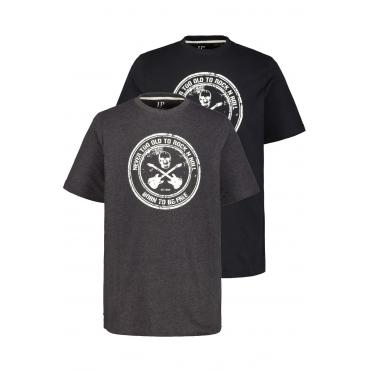 JP1880  T-Shirts Herren XXL, anthrazit-melange/ schwarz, Baumwolle, Mode in großen Größen