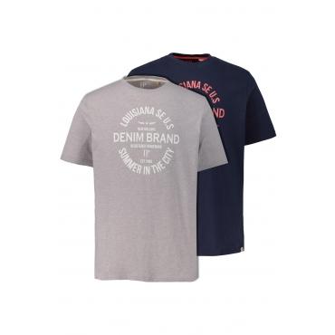 JP1880  T-Shirts Herren XXL, navy/ grau-melange, Baumwolle, Mode in großen Größen