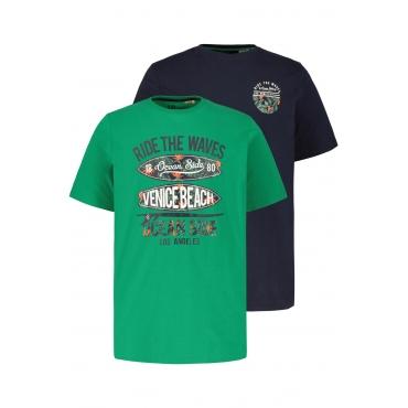 JP1880  T-Shirts Herren XL, navy/ grün, Baumwolle, Mode in großen Größen