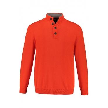 JP1880 Herren  Troyer, Pullover, Kragen mit Kontrast, signal orange, Gr. XXL, Mode in großen Größen