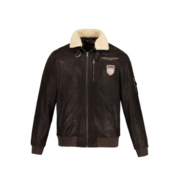 JP1880  Leder-Jacke Herren XXL, braun, Mode in großen Größen