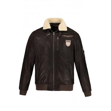 JP1880  Leder Jacke Herren XXL, braun, Mode in großen Größen
