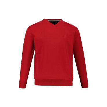JP1880  Pullover Herren XXL, salsa-melange, Baumwolle, Mode in großen Größen