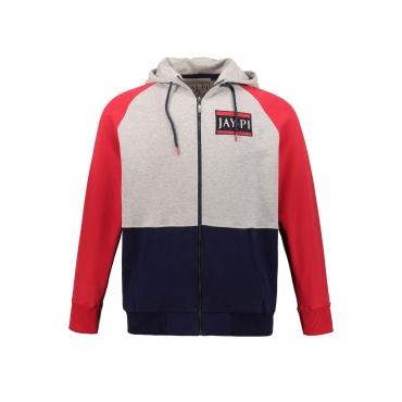 JP1880 Sweatjacket Herren, grau-melange, Mode in großen Größen