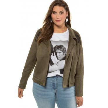 Studio Untold Biker-Jacke mit Fransen Damen, thymian, Mode in großen Größen
